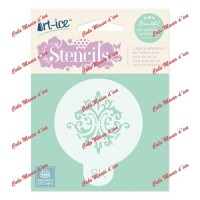 Stencil Art-ice border Damask