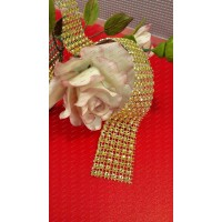 Ruban facette Strass diamant 6 bandes Or